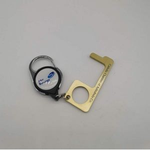 No-touch door Clean key with badge reel key chain